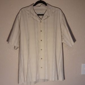 Light Beige Tommy Bahama Short Sleeve Silk Shirt L